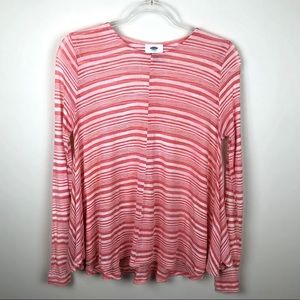 Old Navy Coral Sheer Striped Swing Long Sleeve Tee